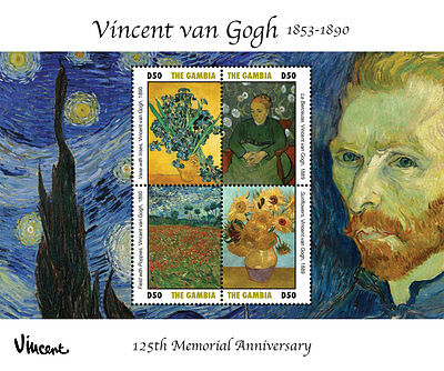 VINCENT VAN GOGH 125TH MEMORIAL ANNIVERSARY SHEETLET OF 4 X D50 - Gambia 2015
