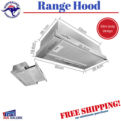 New 5 Star Chef Slide Out Range Hood Stainless Steel Kitchen Canopy Exhaust Hood