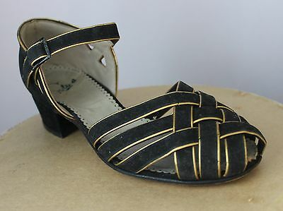 1930's Gold / Black Satin Ladies Evening Shoes Kid Leather Lined Medium