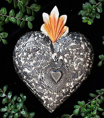 White Wood Heart covered in Milagros Miracle Ex Voto Folk Art Mexico Love Token