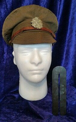 Authentic WW1 Border Regiment 1917 Pattern Trench Cap NAMED + Button Cleaner