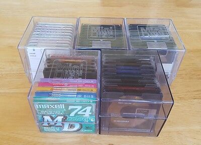50 RECORDABLE MINIDISCS (45 USED + 5 NEW) With Protective Sleeves + Carry Cases.