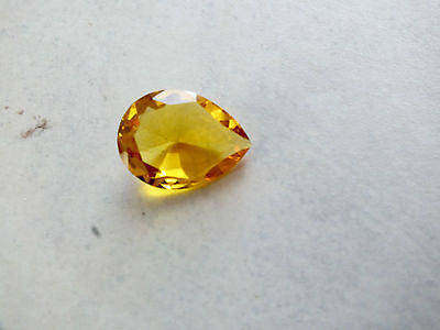 10 ct FACETED TEARDROP 18X12X5 mm YELLOW CITRINE LOOSE GEMSTONE PENDANT CHARM Q4