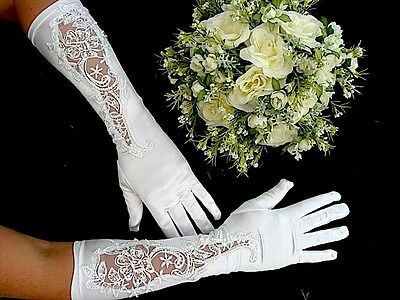 White Long Floral Lace Women Gloves Wedding Evening Birthday Dinner Party A9