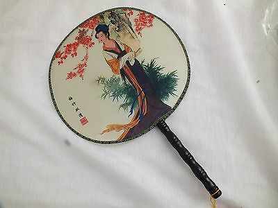 Chinese Round Palace Women Hand Fan Fancy Dance Birtthday Japanese Party Hh3