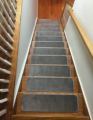 Comfy Stair Tread Treads Indoor Skid Slip Resistant Carpet Gray 13 total treads