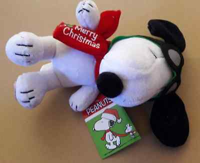 """PEANUTS SNOOPY MUSICAL MERRY CHRISTMAS FLYING ACE Plush Stuffed Animal NEW 9"""""""