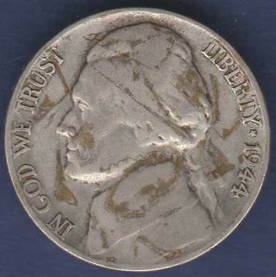 1944 P United States America 5c Five Cents Jefferson Nickel =DIRTY= #US1944
