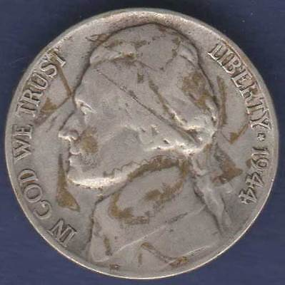 1944 United States America 5c Five Cents Jefferson Nickel =DIRTY=