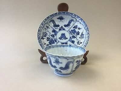 Chinese Kangxi Blue and White Tea Cup / Bowl and Saucer - Cockerels