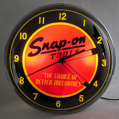 "Snap on Tools Light-up Clock Vintage Design Large 15"" Shop Collectors Garage"