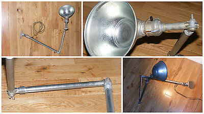 Vintage Steampunk AJUSCO Articulated Wall Mount Machinist Industrial Shop Lamp