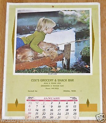 1974 Cox's Grocery Calendar Texaco Gas/Oil Knoxville/Powell Tennessee Boy/Dog