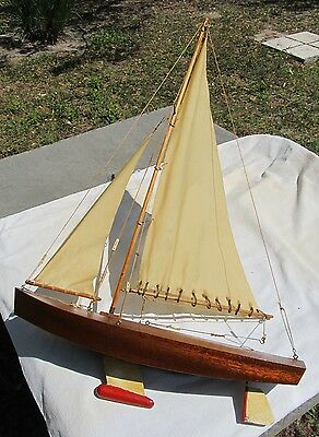 "Vintage Pond Yacht Model Sailboat 17"" Hull And 26"" Tall Wooden ~Hanging Display!"