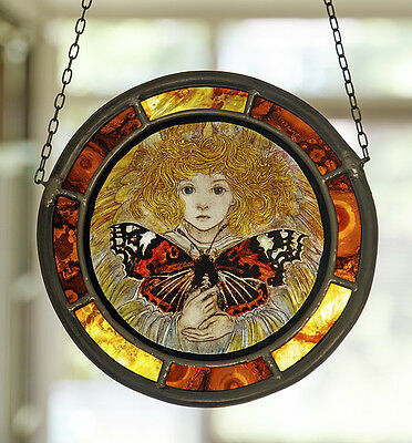 Butterfly Fairy stained glass, fairy suncatcher, handpainted, kilnfired glass