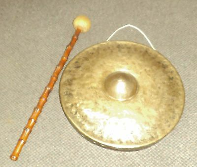 """VINTAGE 16.5"""" NIPPLE GONG with BEATER. DARK AND MEAN SOUNDING."""