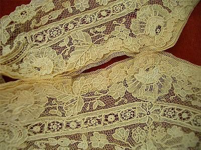 HM Antique VTG VICTORIAN EDWARDIAN BELGIAN POINT DE GAZE LACE HIGH NECK COLLAR