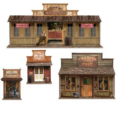 Wild West Town Paper Props Cowboy Theme Party Scene Wall Prop