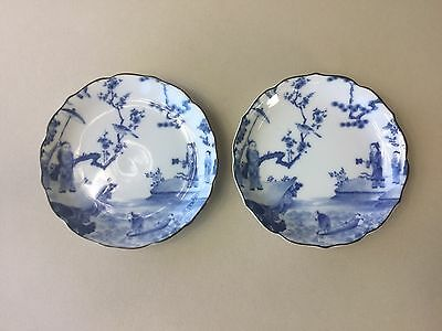 Two Oriental Blue and White Plates / Saucers