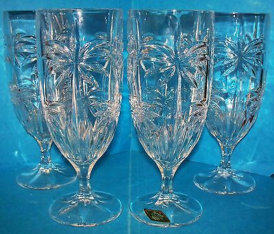 Shannon Crystal South Beach Goblets SET OF 4 Godinger Palm Tree Glasses 14-15 oz
