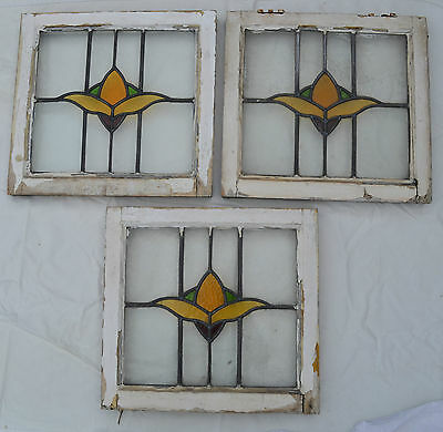 3 art deco leaded light stained glass windows. R406. WORLDWIDE DELIVERY!!!