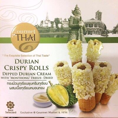 """Durian Crispy Rolls Dipped Durian Cream with """"Monthong"""" Freeze-Dried 45g"""