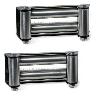 "2 Pack Super Heavy Duty Winch Roller Fairlead f Steel Cable- 10"" Bolt Pattern"