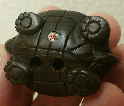 TURTLE japanese netsuke carving vtg wood inlaid glass eyes signed figurine