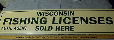 WISCONSIN FISHING LICENSE SOLD HERE SIGN reproduction Cabin Decor cottage bait