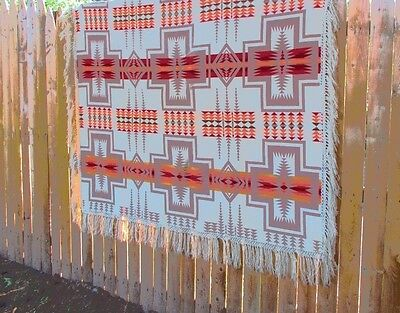 OLD Pendleton Beaver State Blanket Wool 61x68 Aztec Tribal Colorful
