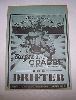 "Buster Crabbe ""The Drifter"" 1944 orig Cowboy Movie Theater herald"