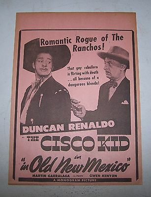 "Duncan Renaldo ""In Old New Mexico"" 1945 orig Cowboy Movie Theater herald"