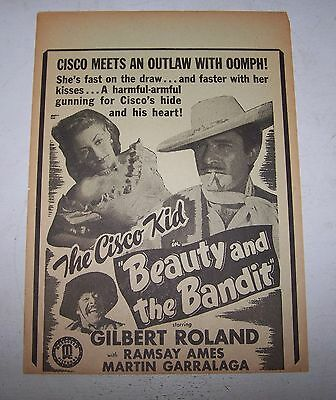 "Gilbert Roland Cisco Kid ""Beauty & The Bandit"" orig Cowboy Movie Theater herald"