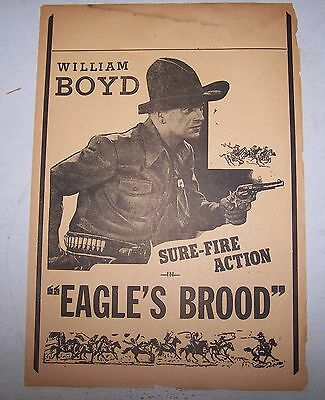 "William Boyd Hopalong Cassidy ""Eagle's Brood"" 1935  Cowboy Movie Theater herald"