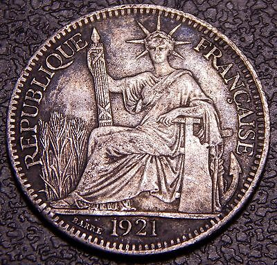 French Indochina 1921 A 10 Cents CH XF+ to AU Toned Original Silver Coin!