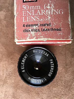 Paterson 50 mm f4.5 Enlarging Lens 4 element coated Leica thread