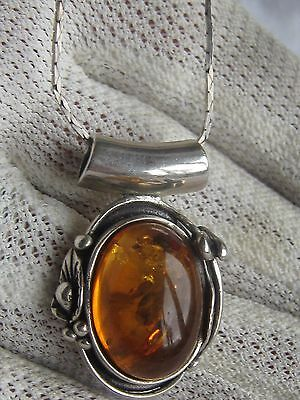 Vintage Sterling Silver Baltic Amber Pendant Necklace With  Naturistic Setting