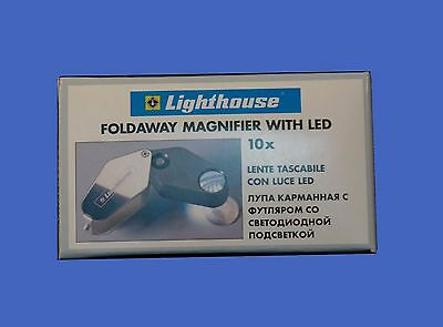 Lighthouse Pocket Magnifier LED Loup 10X Batteries Included Jewelry Quality