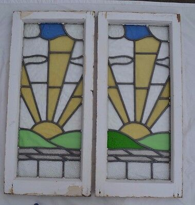 2 sunray scene leaded light stained glass windows. R513. WORLDWIDE DELIVERY!!!