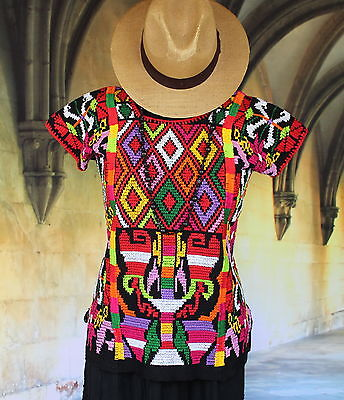 Short Black & Multi Color Valle Nacionale Hand Woven Huipil Mexico Tree of Life