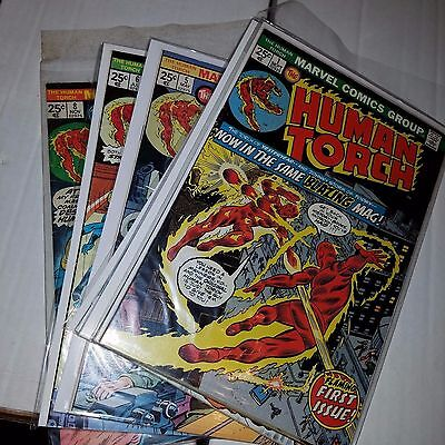 Human Torch (1974) Lot, Near Complete Set w/#s 1-8, Bronze Age