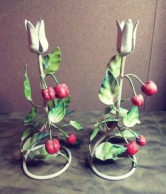 Vintage Italian Painted Tole CHERRIES Fruit Candle Holders (2)PAIR hand painted