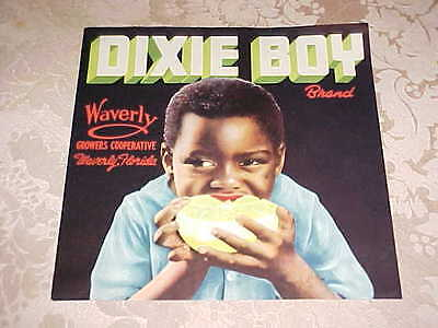 Vintage Dixie Boy Brand Crate Label Waverly, Florida