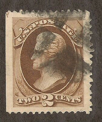 US # 146 (1870) 2c - Used -Grade: Jumbo - Jackson - EFO: Cutting Line Arrow