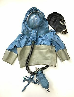 Hazmat Russian rubber suit, insulating protective hood with gas mask.Sz M, L