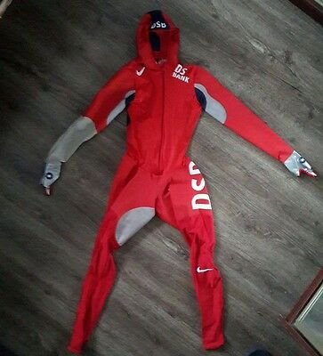 USA speedskating team rubber skinsuit. Nike rubberized hooded speedsuit