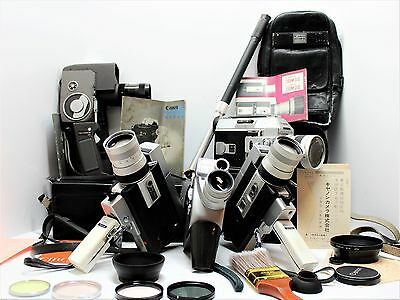 lot of canon super 8 video cameras movie 8mm film cameras 5 w/ extras for parts