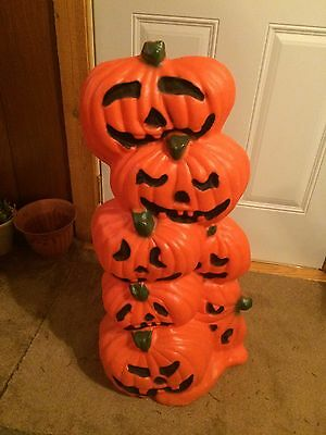 Vintage Stack Of Pumpkins 31 Inches Blow Mold Holiday Halloween Yard Decor
