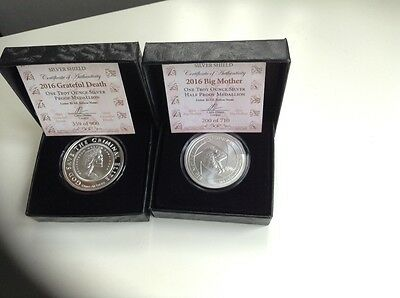 Big mother and Grateful death Silver shield reverse proofs, TWIN PACK
