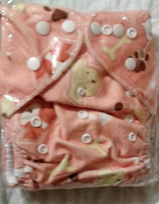 One Size Minky pocket cloth diaper w/insert - Brown Puppy Dogs